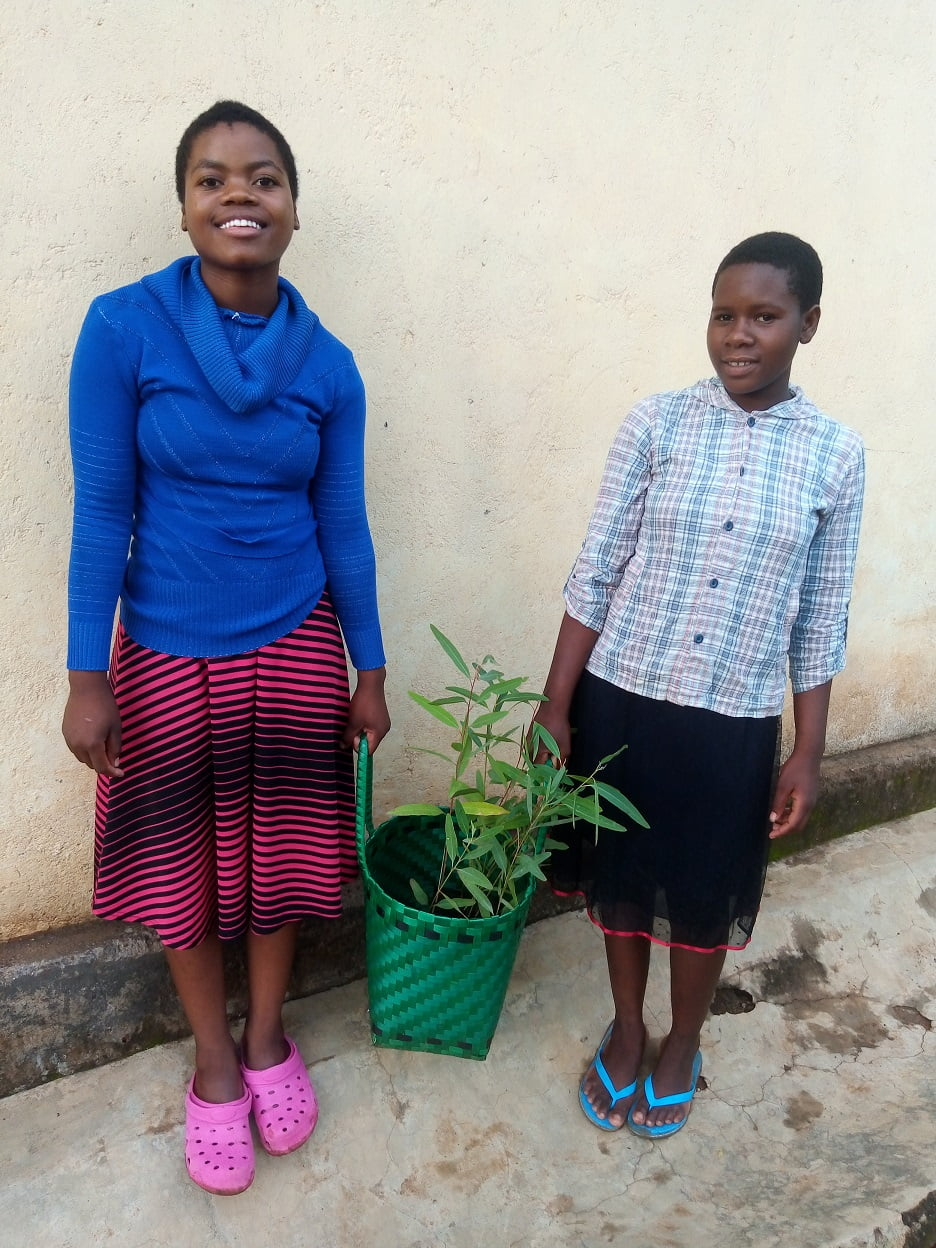 two young girls carrying a green basket