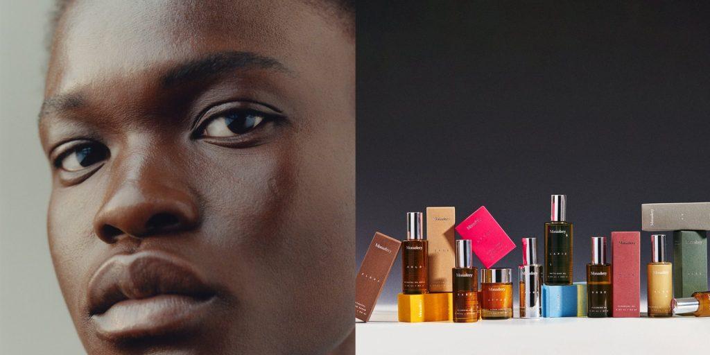 face up close, skincare bottles