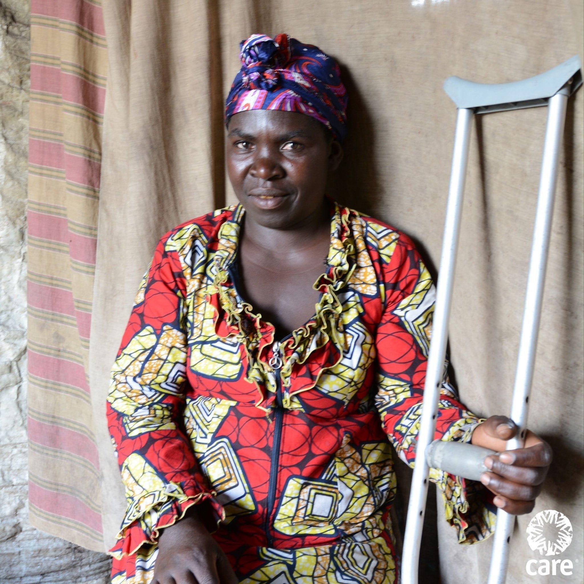 woman with crutch