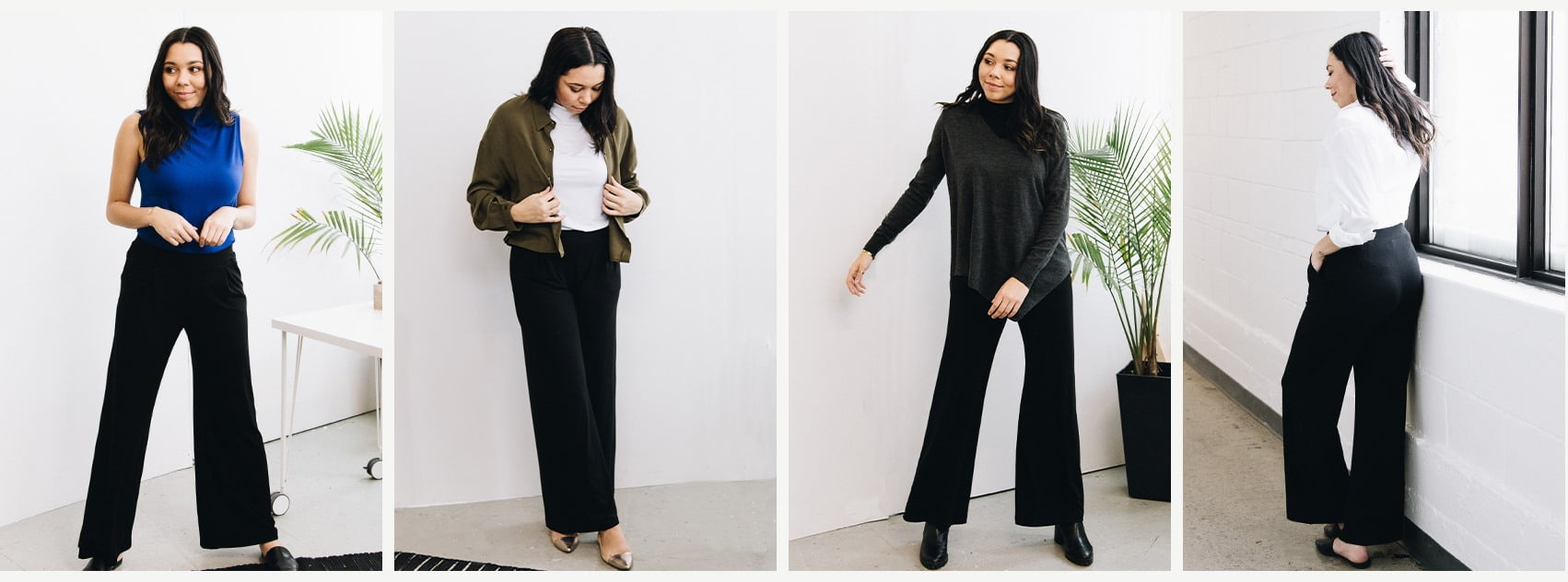 4 images of a woman in different dressy sweatsuits