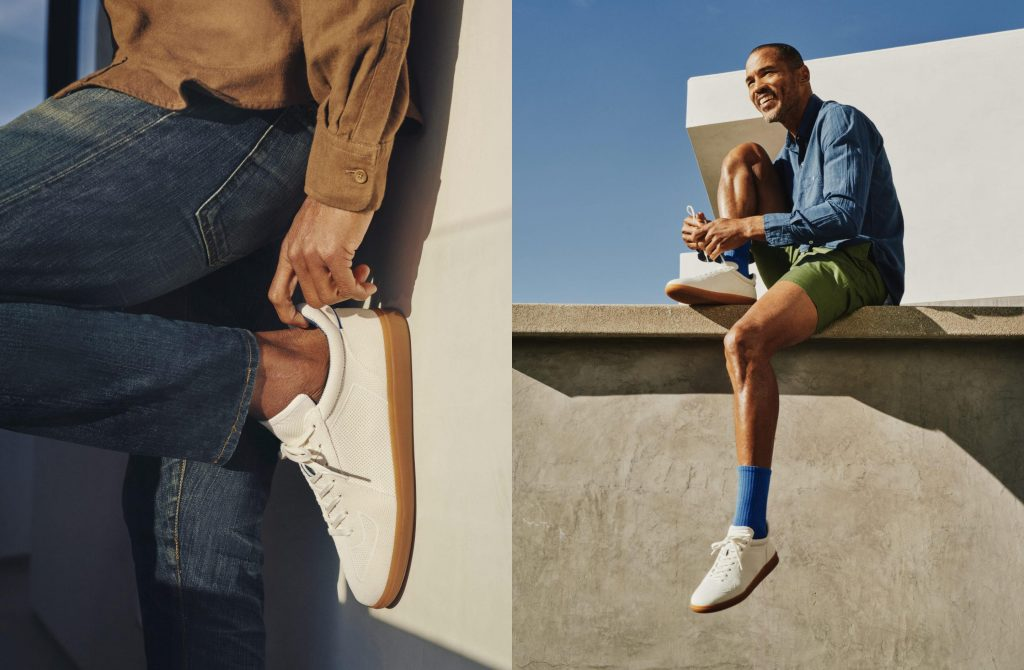 white sneaker against wall, man sitting on rooftop in white sneakers