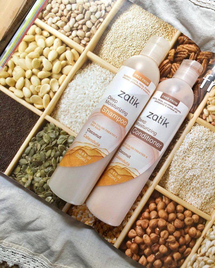 zatik sustainable shampoo bottles on nuts
