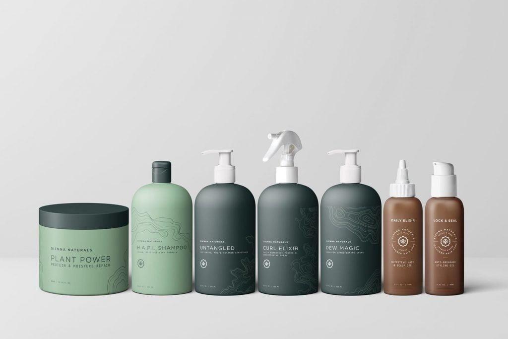 Sienna Natural shampoo bottle lineup