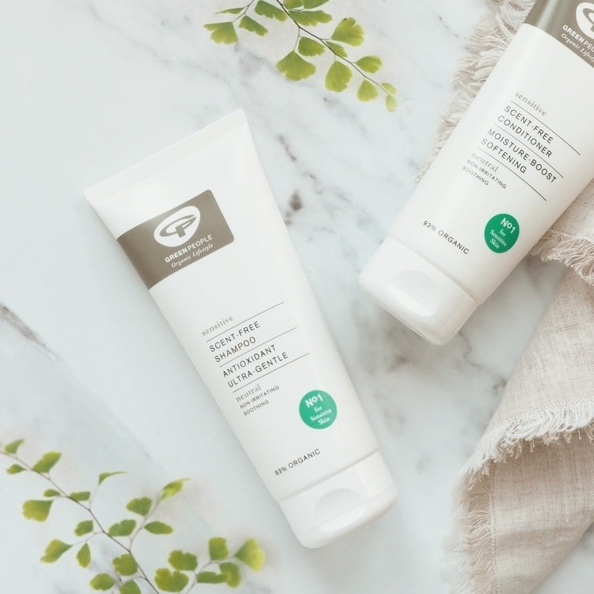 scent-free shampoo bottles by green people