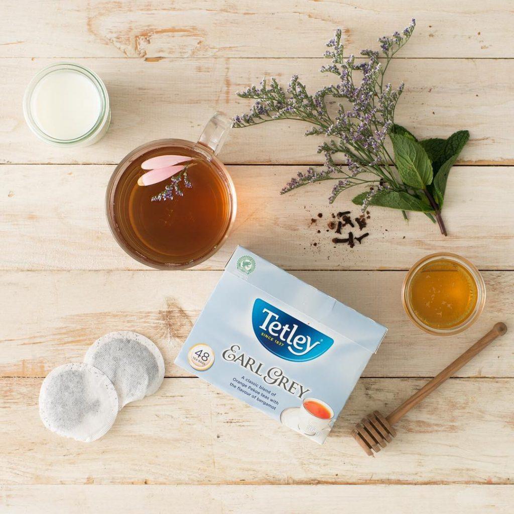 Tetley tea arrangement on wooden table