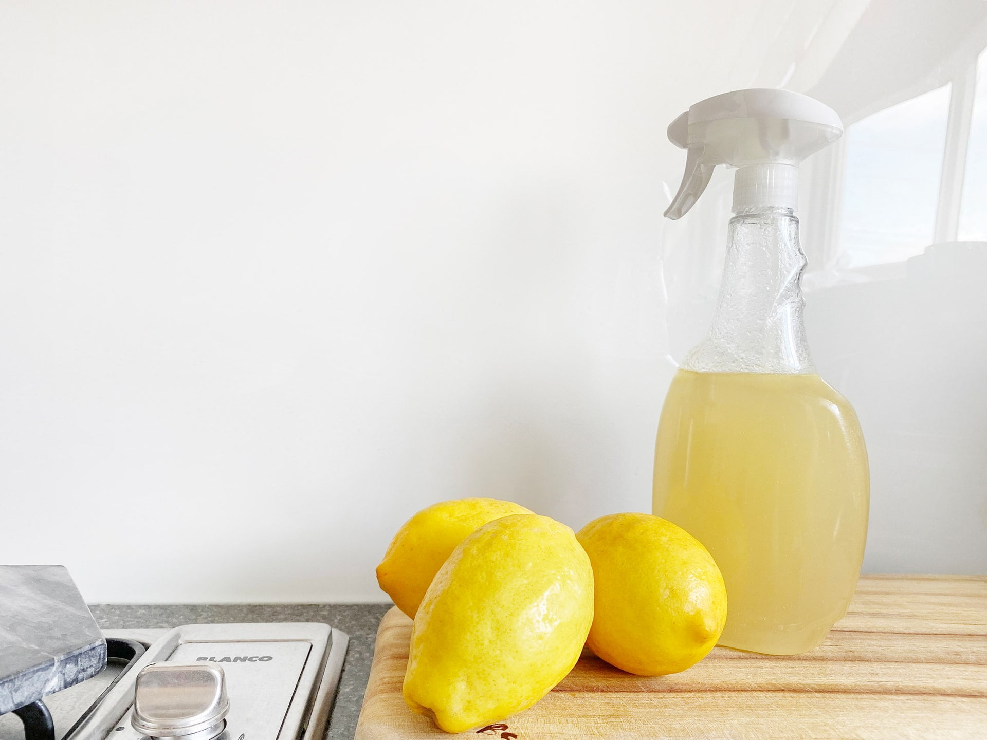 lemons, cleaning product, kitchen