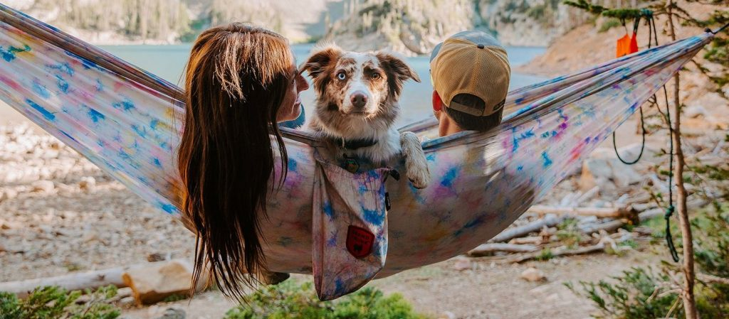 two people and a dog in a hammock