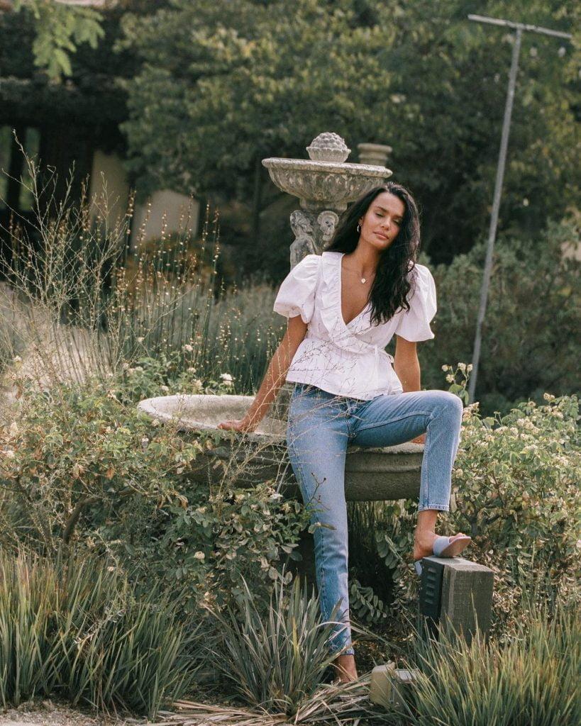 girl in lush garden