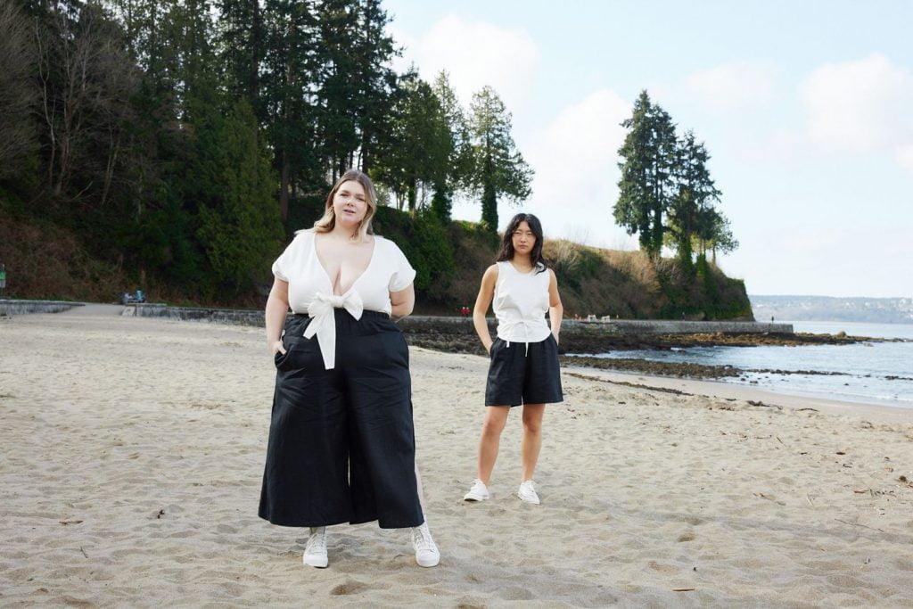 plus sized two women on beach
