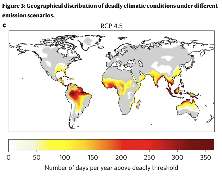 Geographical distribution of deadly climatic conditions under different emission scenarios.