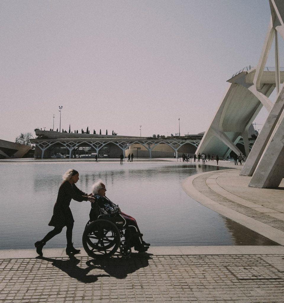 wheelchair by waterside