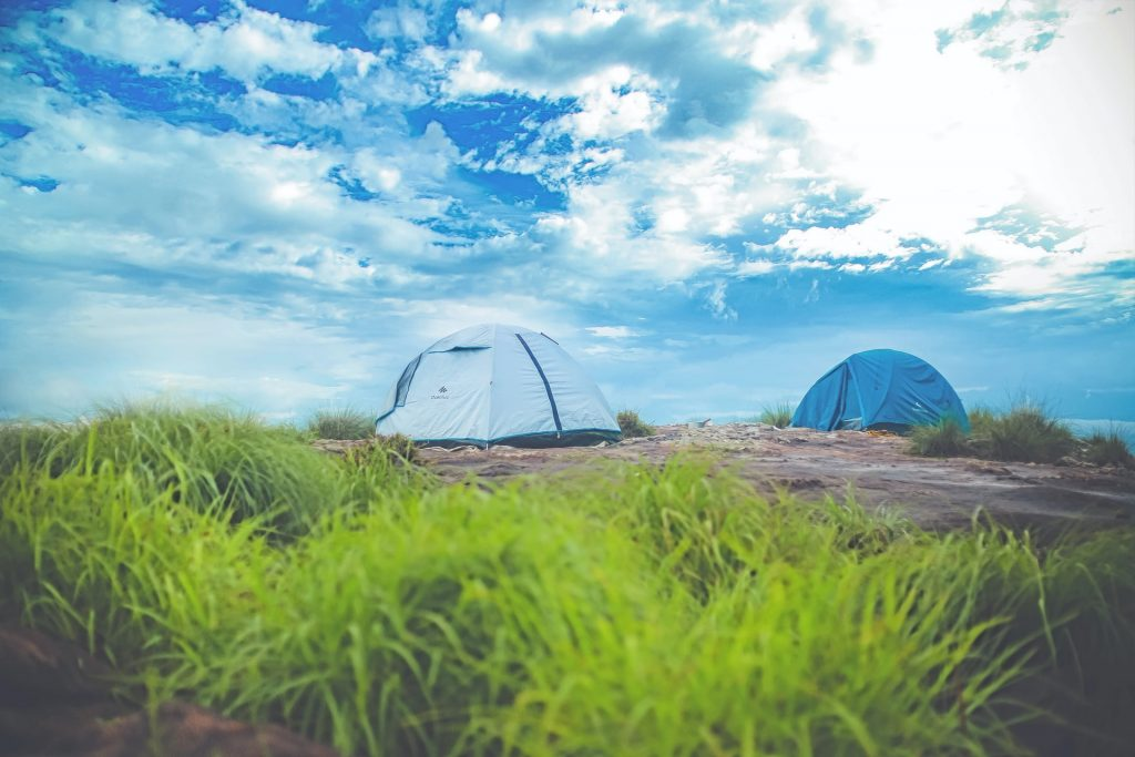 Tents under blue sky