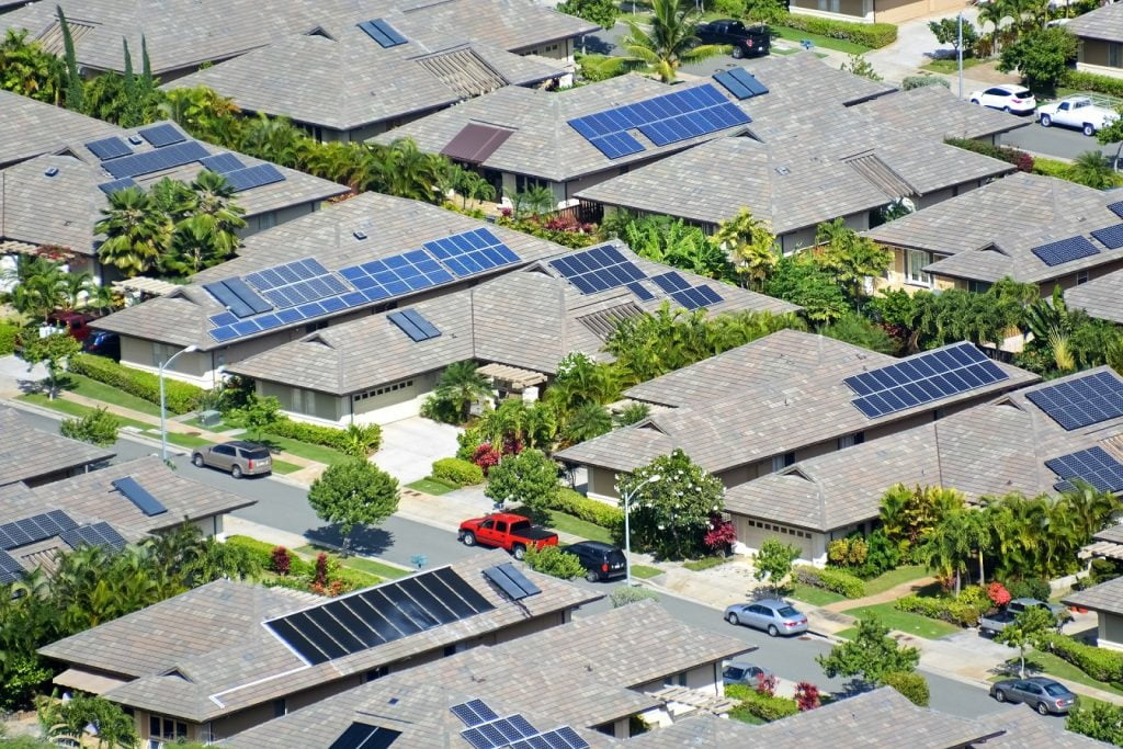 solar panels in residential area