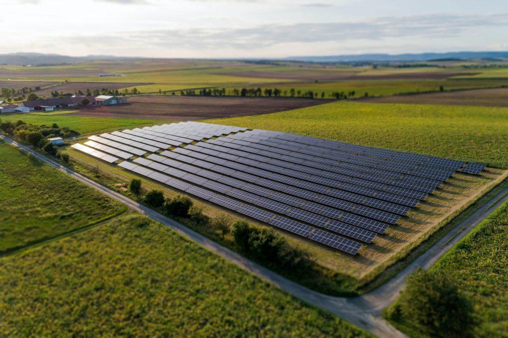 Solar panels in farming fields