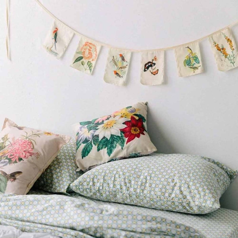 cushions with flowers on pattern