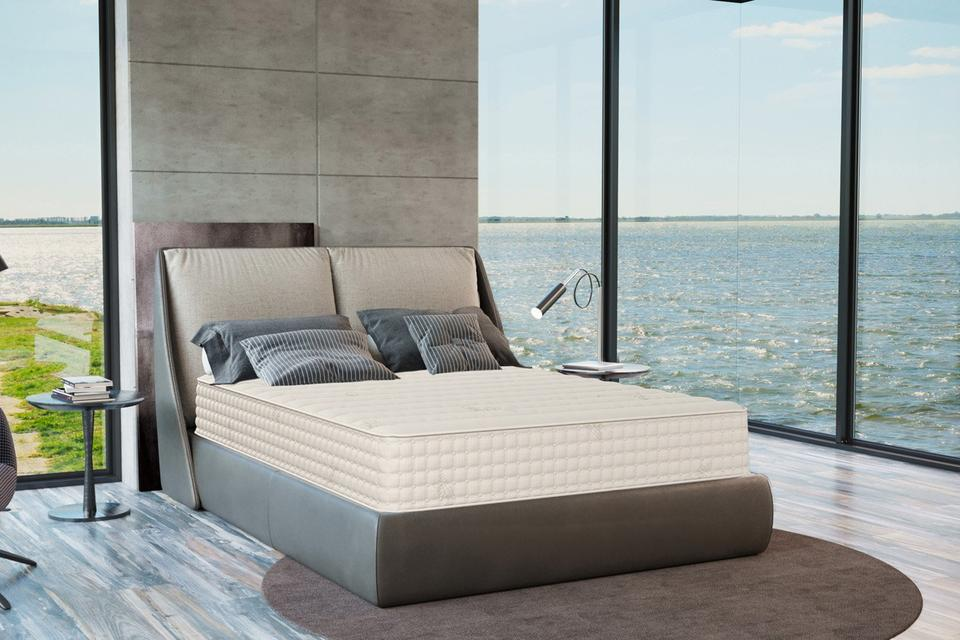 bed with view over ocean