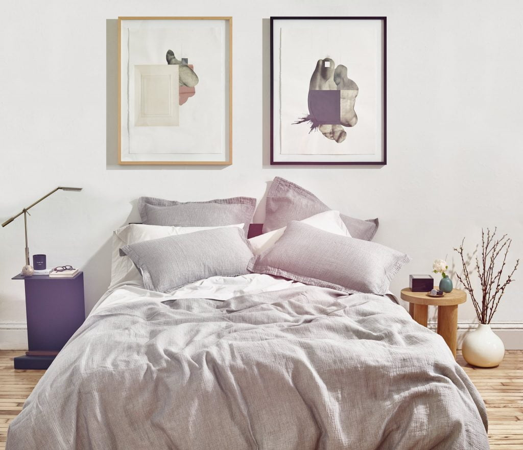 grey bedding and sustainable sheets