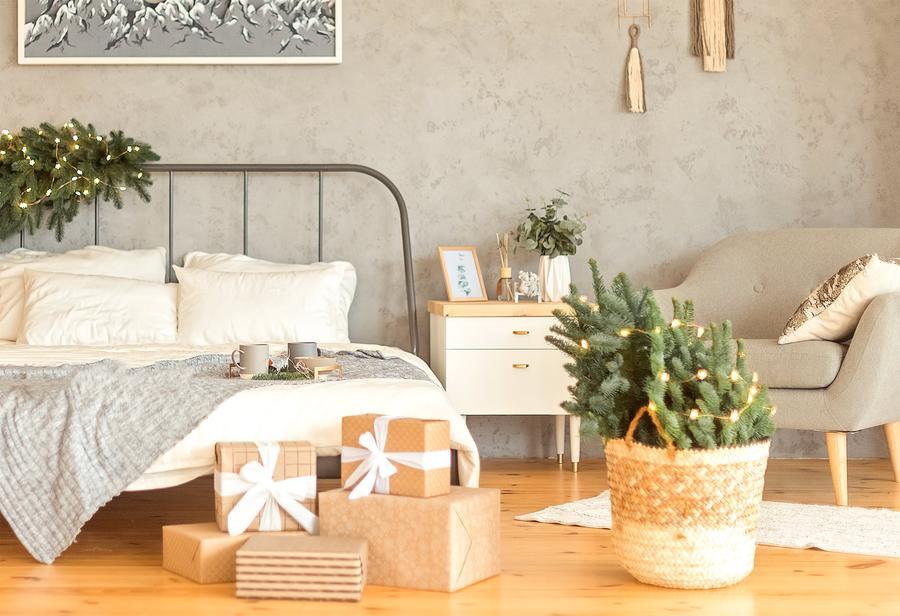 christmas decor around bed