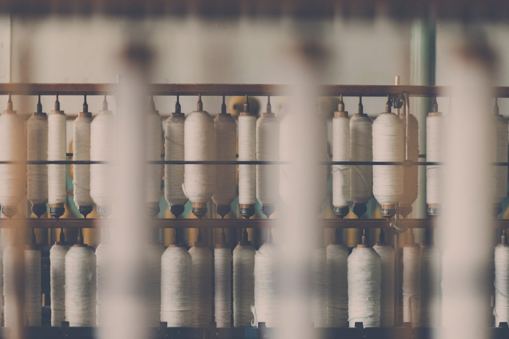textile reels in a factory